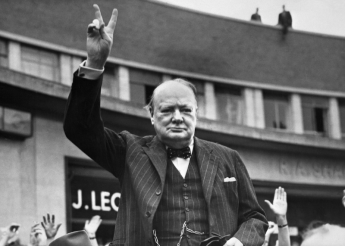 Churchill image with V